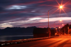Alaskan Road, Petersburg, North Nordic Drive, nightshot